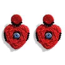 LILIE&WHITE Beaded Eye Drop Earrings Handmade Seed Beaded Heart Dangle Earrings Long Beaded Gothic Earrings for Women Ladies