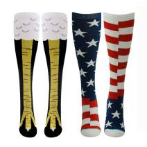 Gmoka Crazy Funny Socks, Chicken Legs Knee-High Novelty Cotton Socks Crew Happpy Gift Women Men M/L