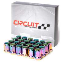 Circuit Performance 12x1.5 Neo-Chrome Closed End Bulge Acorn Lug Nuts Cone Seat Forged Steel (24 Pieces)