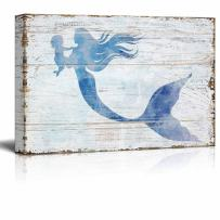 """wall26 - Canvas Wall Art - Mother Mermaid Holding Baby Mermaid 