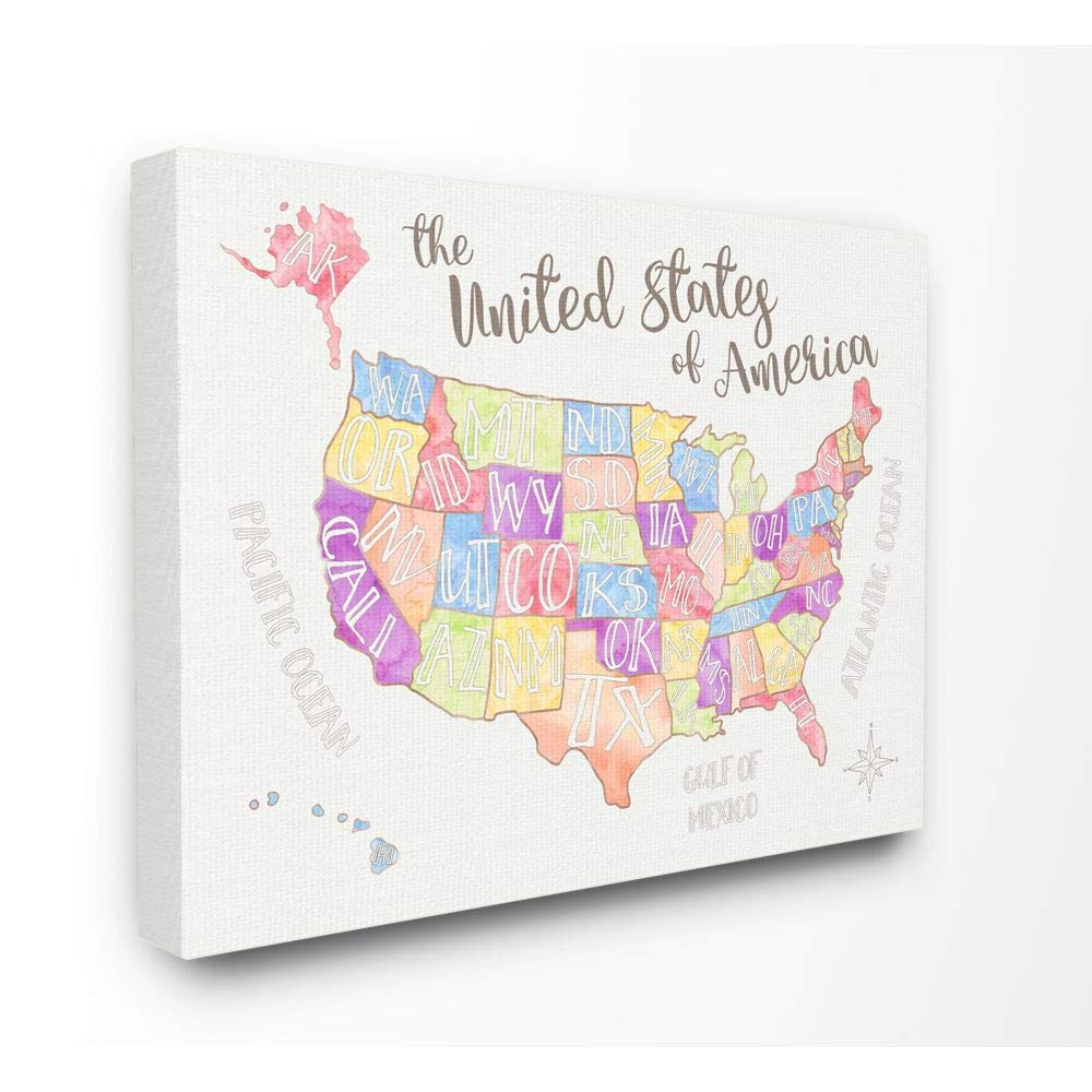 Stupell Home Décor United States US Map Water Color Oversized Stretched Canvas Wall Art, 24 x 1.5 x 30, Proudly Made in USA