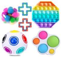 PlioRyo 6 Pcs Fidget Toy Set, Cheap Sensory Fidget Toys Pack for Kids or Adults, Figetget Toys Pack Figit Toys, Fidget Box with Pop Bubble Stress Ball & More