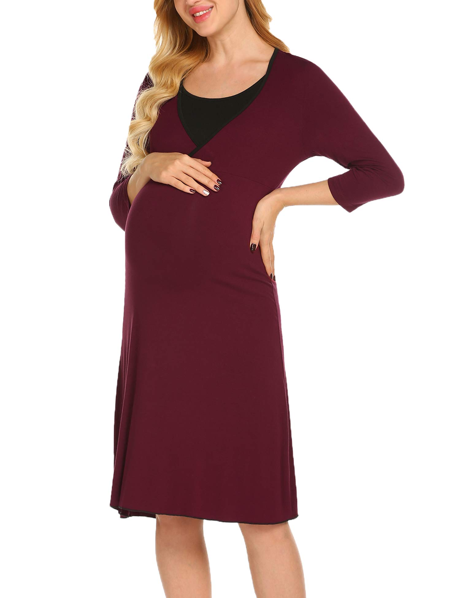 Ekouaer Maternity Nursing Dress Womens Casual 3/4 Sleeve Breastfeeding Nightgown S-XXL