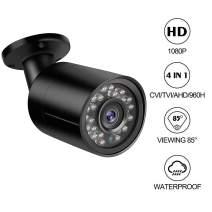 Dericam 1080P 1920TVL CCTV Security Camera for Home Surveillance, 4-in-1 CVI/TVI/AHD/960H Bullet Camera with IP66 Weatherproof, 82ft Night Vision, B2B, Black