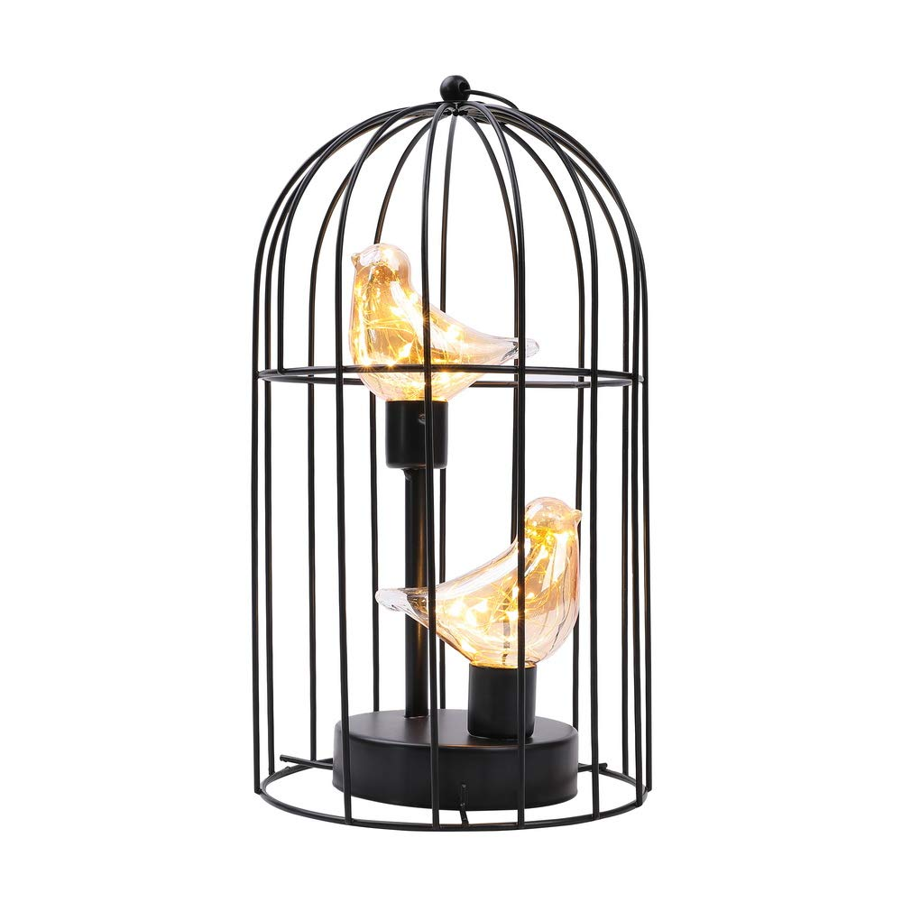 """JHY DESIGN Birdcage Decorative Lamp Battery Operated 12"""" Tall Cordless Accent Light with Warm White Fairy Lights Bird Bulb for Living Room Bedroom Kitchen Wedding Xmas(Black)"""