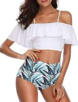 Bikini Swimsuit for Women High Waisted Swimsuits Tummy Control Two Piece Tankini Ruffled Top with Swim Bottom Bathing Suits