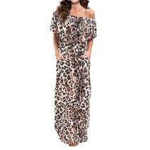 Lesfin Maxi Dresses Womens Off Shoulder Ruffle Party Long Casual Side Split Leopard Print with Pockets
