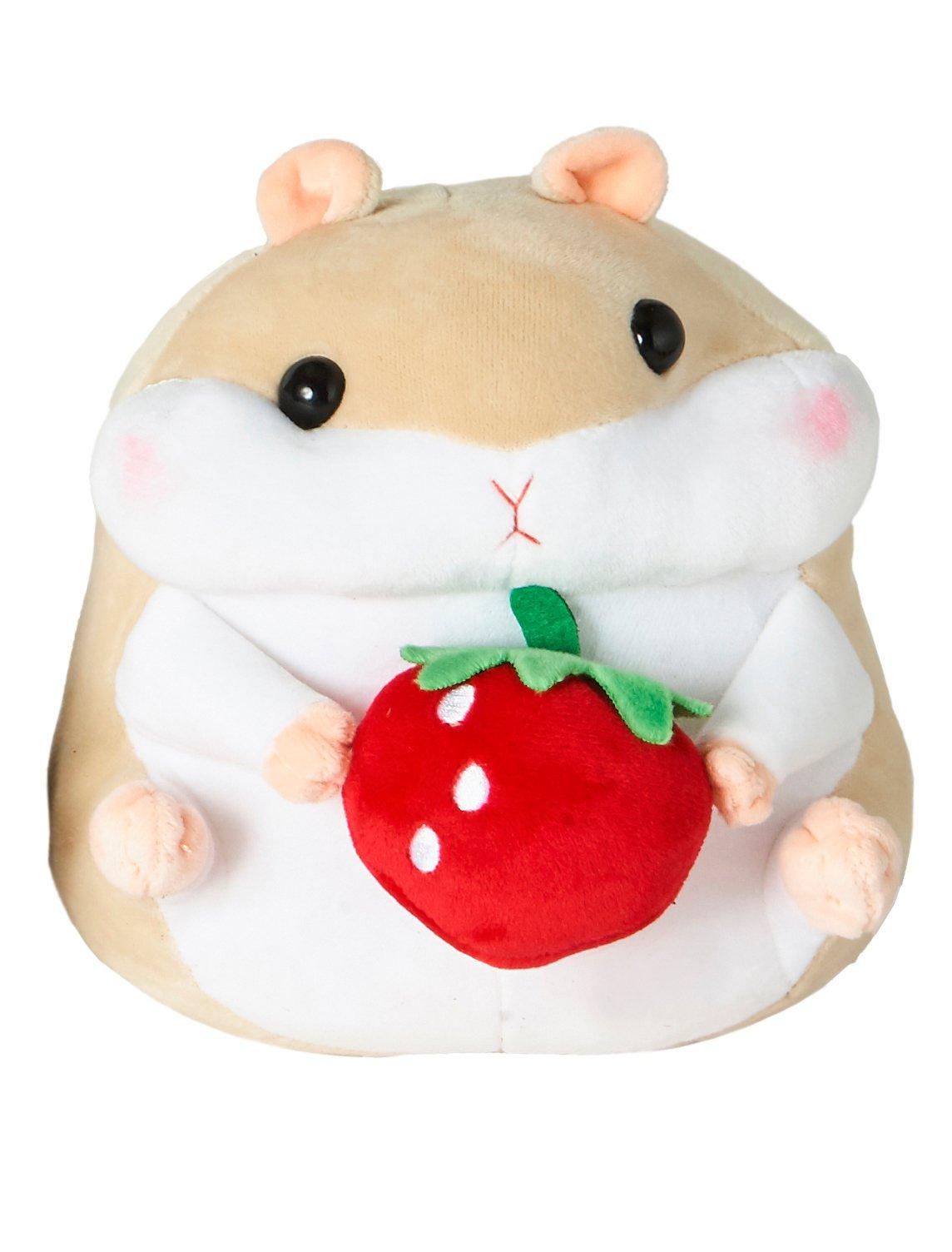 "Shinjidai Scooshin Cute Ultra Soft Stuffed Animal Plush 7.5"" Hamster - Ivory with Strawberry"