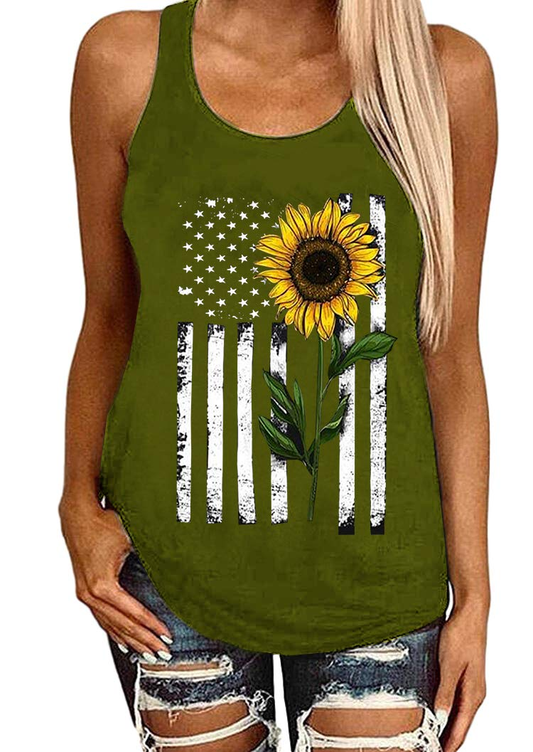 Donbetuy Women's Sleeveless Sunflower Striped Print Tank Tops American Flag Cami T Shirts