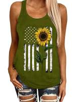 Donbetuy Women's Sleeveless Sunflower Striped Print Tank Tops American Flag Cami T Shirts