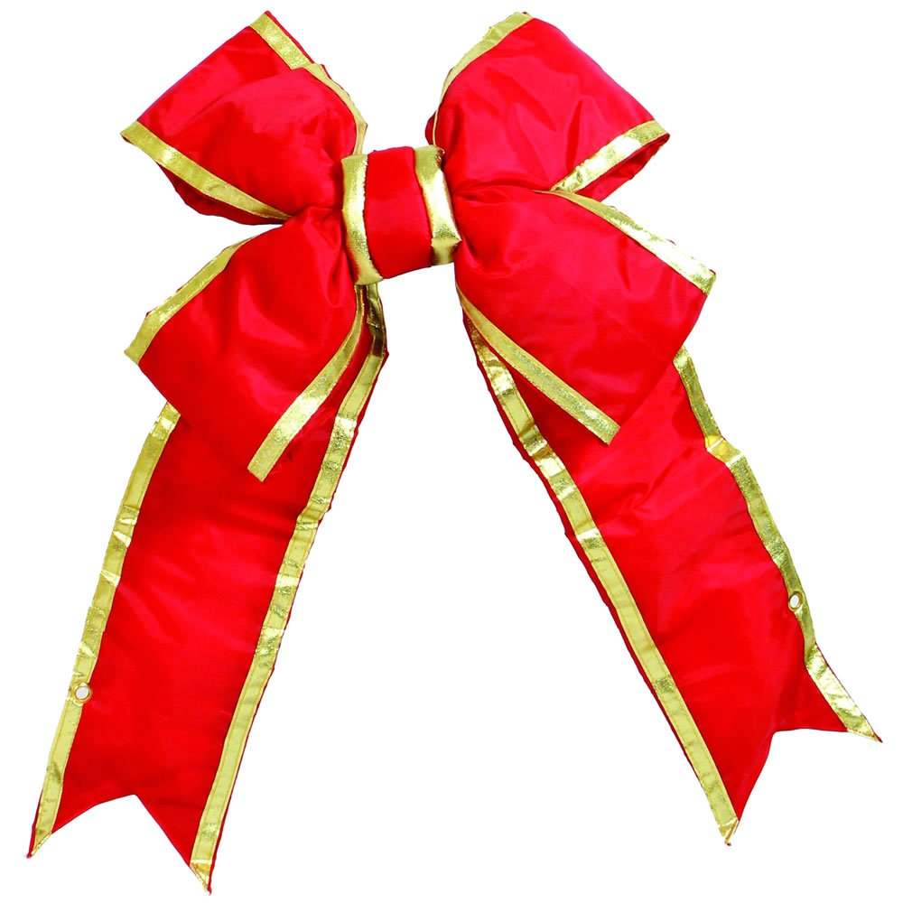 "Vickerman 36"" Red and Gold Nylon Decorative Christmas Bow, Indoor and Outdoor Use"