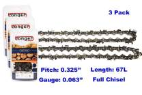 16 Inch Chainsaw 0.325'' Pitch 0.063'' Gauge Full Chisel Sawchain 67 Drive Links (3 PACK)