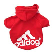 Trudz PET Adidog Hoodies, Rdc Pet Fleece Dog Clothes, Apparel, Basic Hoodie Sweater, Cotton Jacket Sweat Shirt Coat for Small Dog, Puppy, Medium Dog, Cat