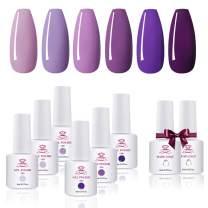 Makartt Gel Nail Polish Kit - 6 Pastel Purple Colors Series 8ML UV Nail Gel Polish Base Coat Top Coat Gel Kit, 8 Bottles Soak Off Gels Gift for Women P-52