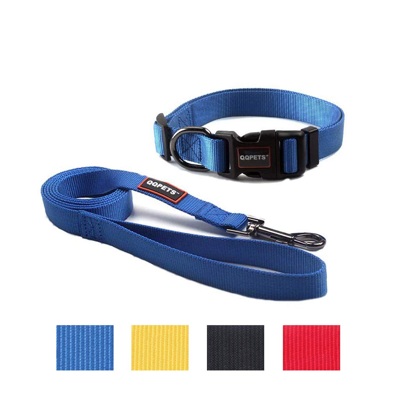 QQPETS Puppy Collar and Leash Set Dog Collars for Small Medium Big Dogs, Adjustable Collars Matching Heavy Duty Leashes Daily Walking