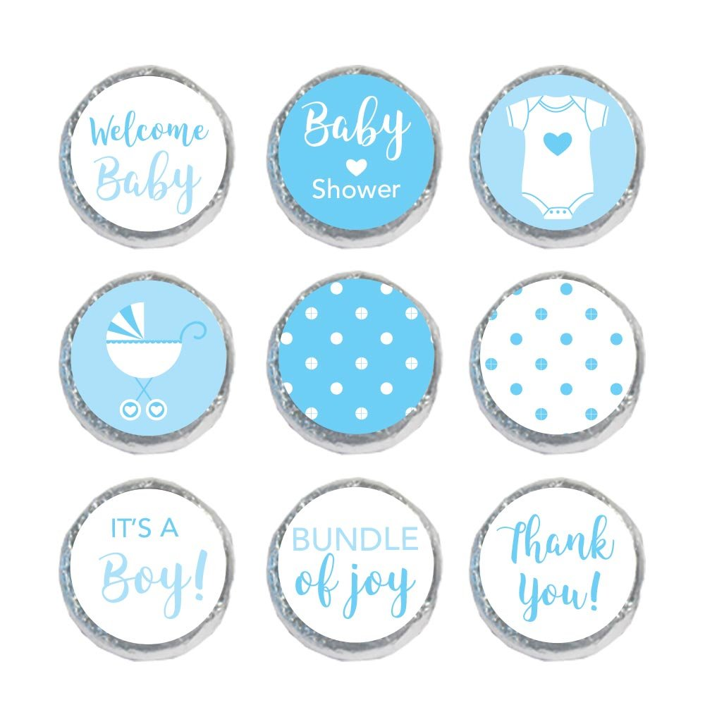 324 Mini Candy Stickers Boy Baby Shower Favors Decoration Labels (Blue)