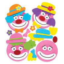Baker Ross Clown Plate Decoration Craft Kits (Pack of 4) Paper Plate and Adhesive Foam Pieces Included Perfect for Toddler Art Supplies and Arts & Craft Activities