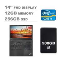 Lenovo ThinkPad T470 14'' Full HD FHD (1920x1080) Business Laptop (Intel Core i5-6300U, 12GB DDR4 RAM, 256GB PCIe M.2 SSD) Type-C Thunderbolt 3, HDMI, Windows 10 Pro + IST 500GB Portable Hard Drive