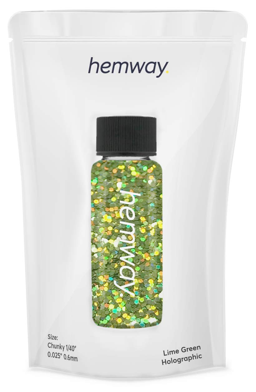 """Hemway Glitter Tube 12.8g / 0.45oz Extra Chunky 1/40"""" 0.025"""" 0.6MM Premium Sparkle Gel Nail Dust Art Powder Makeup Pigment Eyeshadow Face Body Eye Cosmetic Safe -(Lime Green Holographic)"""
