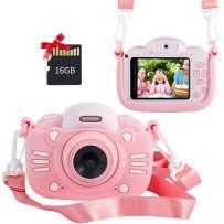 MINIBEAR Kids Digital Camera for Toddler Girls Toy Camera Kids Video Camera, Children Selfie Camera 2.4 Inch IPS Screen Mini Kids Camcorder Video Recorder with 16GB SD Card - Pink