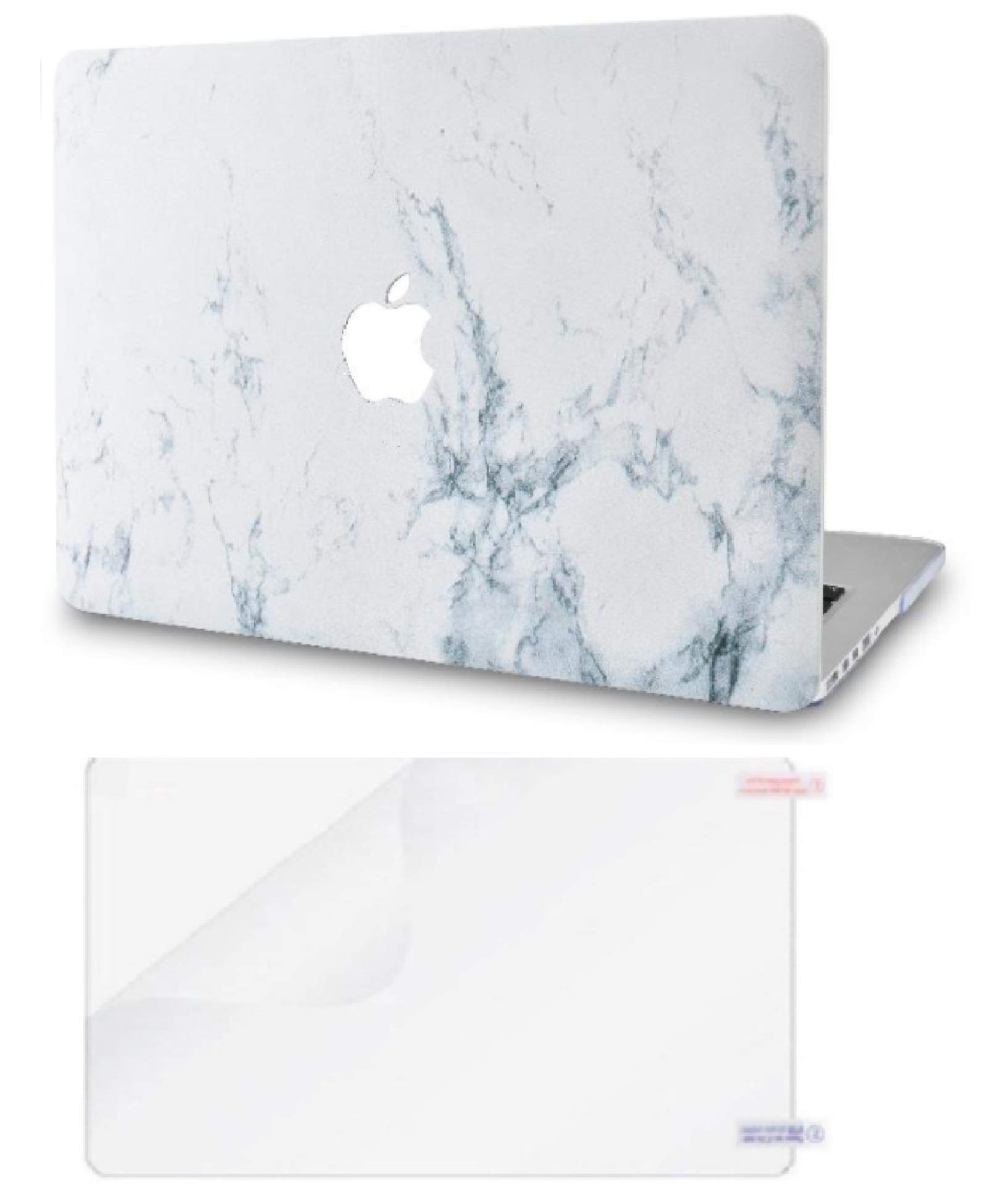 """KECC Laptop Case for MacBook Pro 13"""" (2020/2019/2018/2017/2016) w/Screen Protector Plastic Hard Shell A2159/A1989/A1706/A1708 Touch Bar 2 in 1 Bundle (White Marble)"""