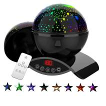 Baby Star Night Light, Bizzerinc Christmas Gift, Best Night Lights Projector for Kids Adults and Nursery Decor, Rotating Remote Control and Timer Design Projection Lamp, Colorful Lighting.(Black)