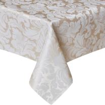ColorBird Scroll Damask Jacquard Tablecloth Polyester Fabric Water Resistant Spillproof Table Cover for Kitchen Dinning Wedding Banquet Party Tabletop Use (Square, 70 x 70 Inch, Beige)