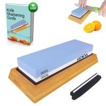 Premium Knife Sharpening Stone Kit, 2 Side 1000 & 6000 Grit Whetstone, Kitchen Blade Sharpener Stone, Non-Slip Bamboo Base & Bonus Angle Guide Included for Chef, Kitchen, Pocket Knife by YUKSY
