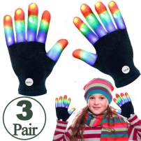 TURNMEON 3 Pair Kids LED Finger Lights Gloves, 3 Colors 6 Modes Flashing Gloves Glow in The Dark LED Gloves 2020 New Year Eve Party Supplies for Kids Ages 5-15