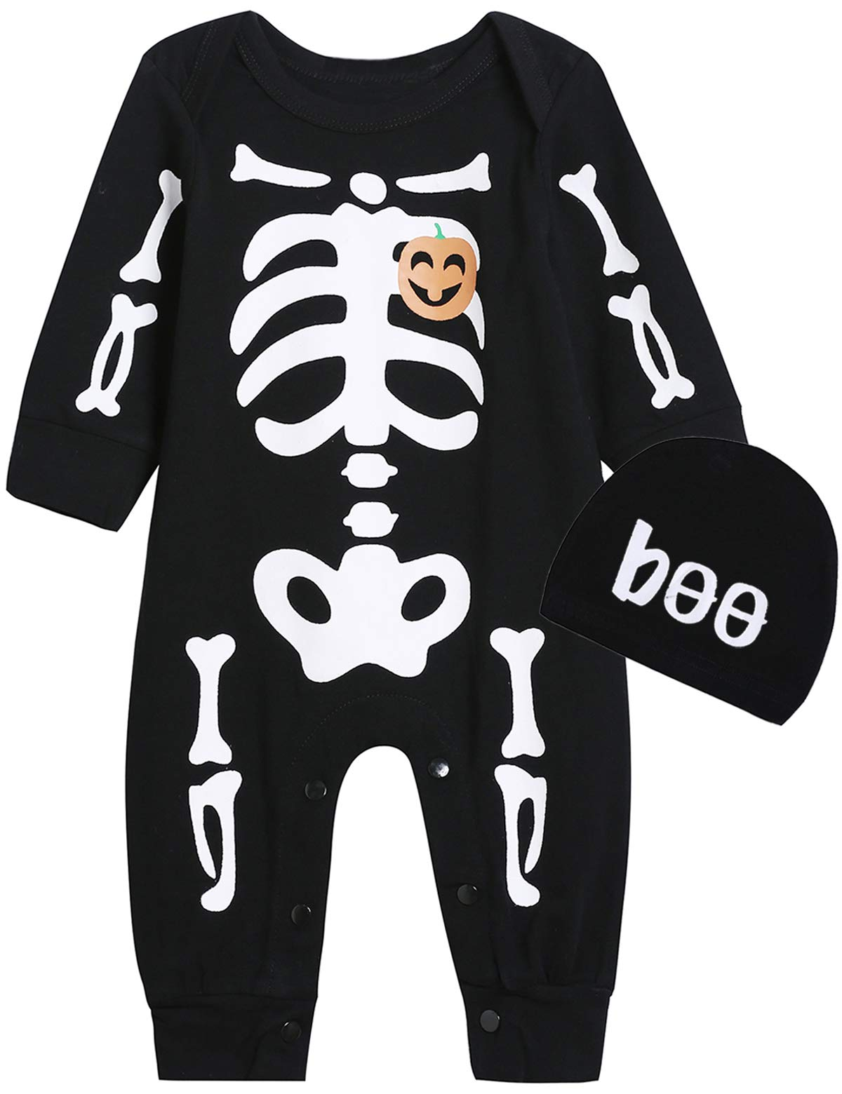 Singcoco Halloween Skeleton Outfits Baby Boys Girls Skull Costume Romper with Hat