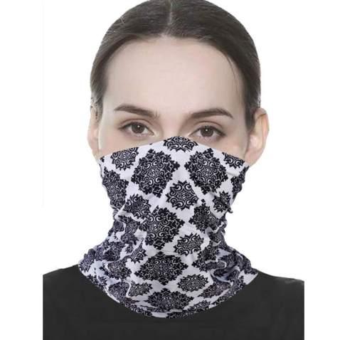 Unisex Seamless Rave Bandana Neck Gaiter Tube Mask Headwear Motorcycle Face Mask for Women Men Face Scarf Black, 5