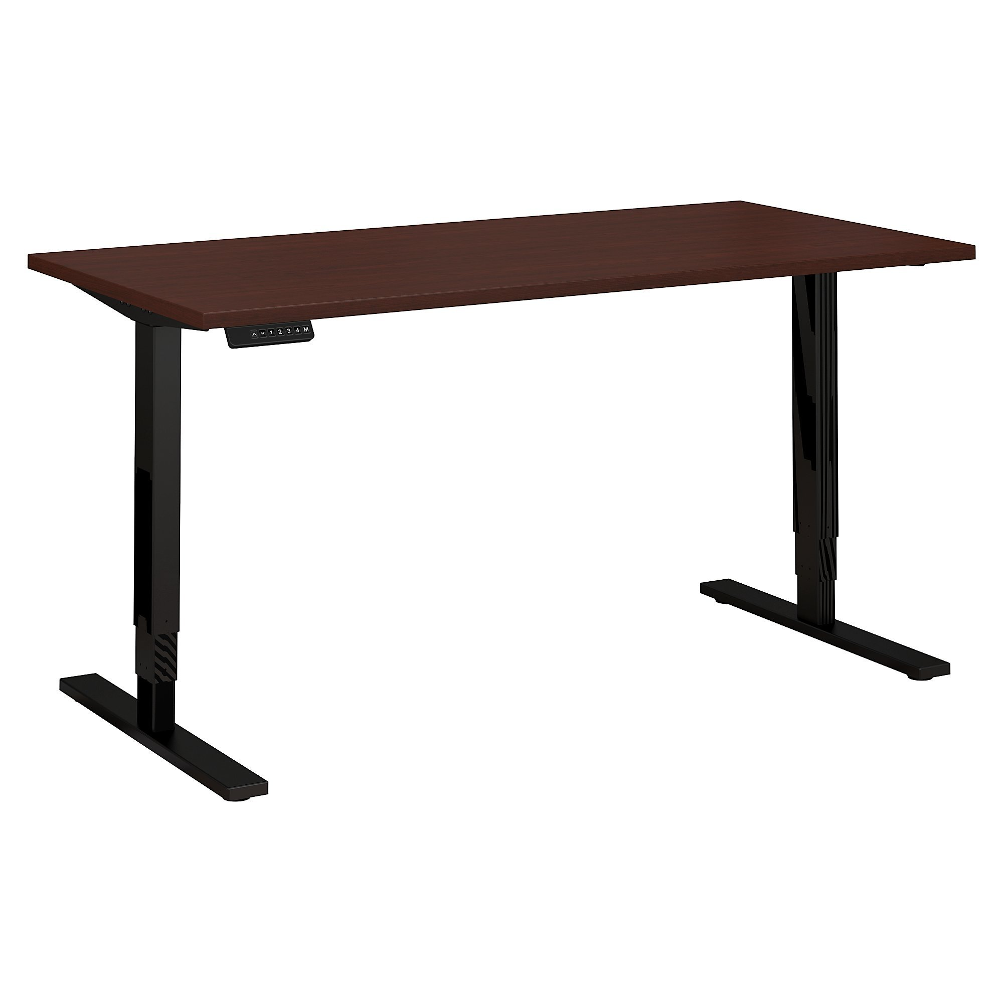 Move 80 Series by Bush Business Furniture 60W x 30D Height Adjustable Standing Desk in Harvest Cherry with Black Base