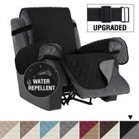 "H.VERSAILTEX Reversible Recliner Cover Recliner Slipcover Recliner Furniture Protector 2"" Elastic Strap Slip Resistant Water Repellent Slipcover Seat Width Up to 22"" (Recliner, Black/Grey)"