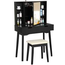 Tiptiper Vanity Table with Lockable Jewelry Armoire, Vanity Set with Mirror and Bench, Makeup Table with 2 Large Drawers and Storage Shelves, Black