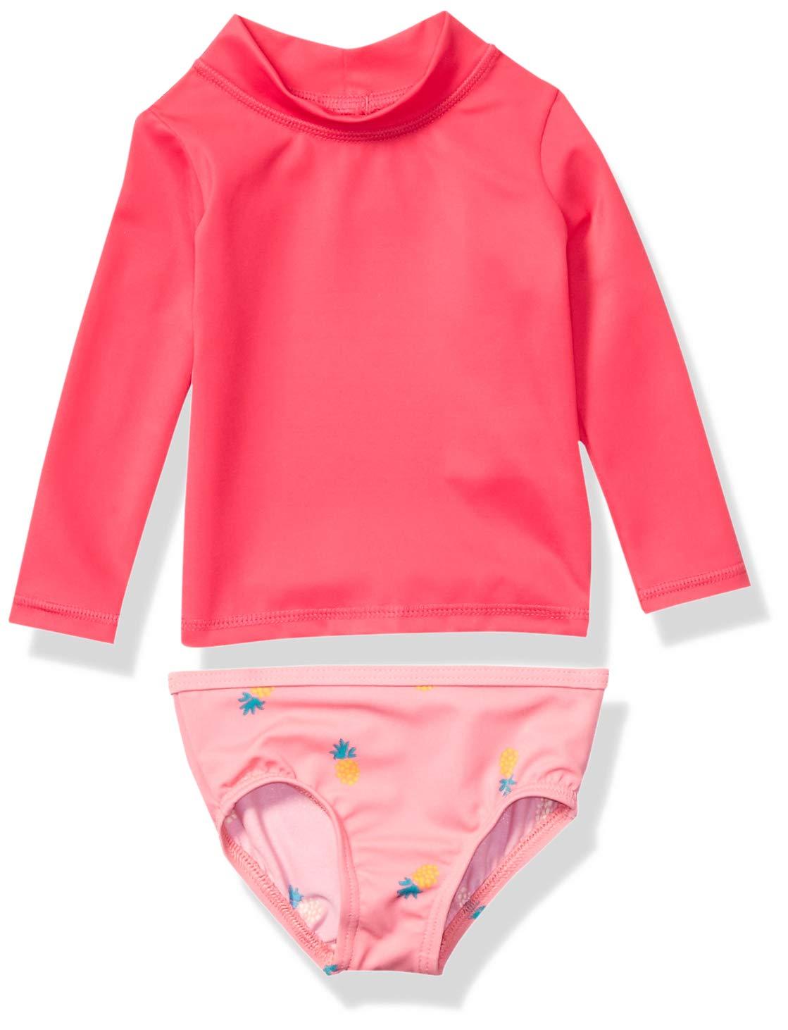 Amazon Essentials UPF 50+ Baby Girls 2-Piece Long-Sleeve Rash Guard Set