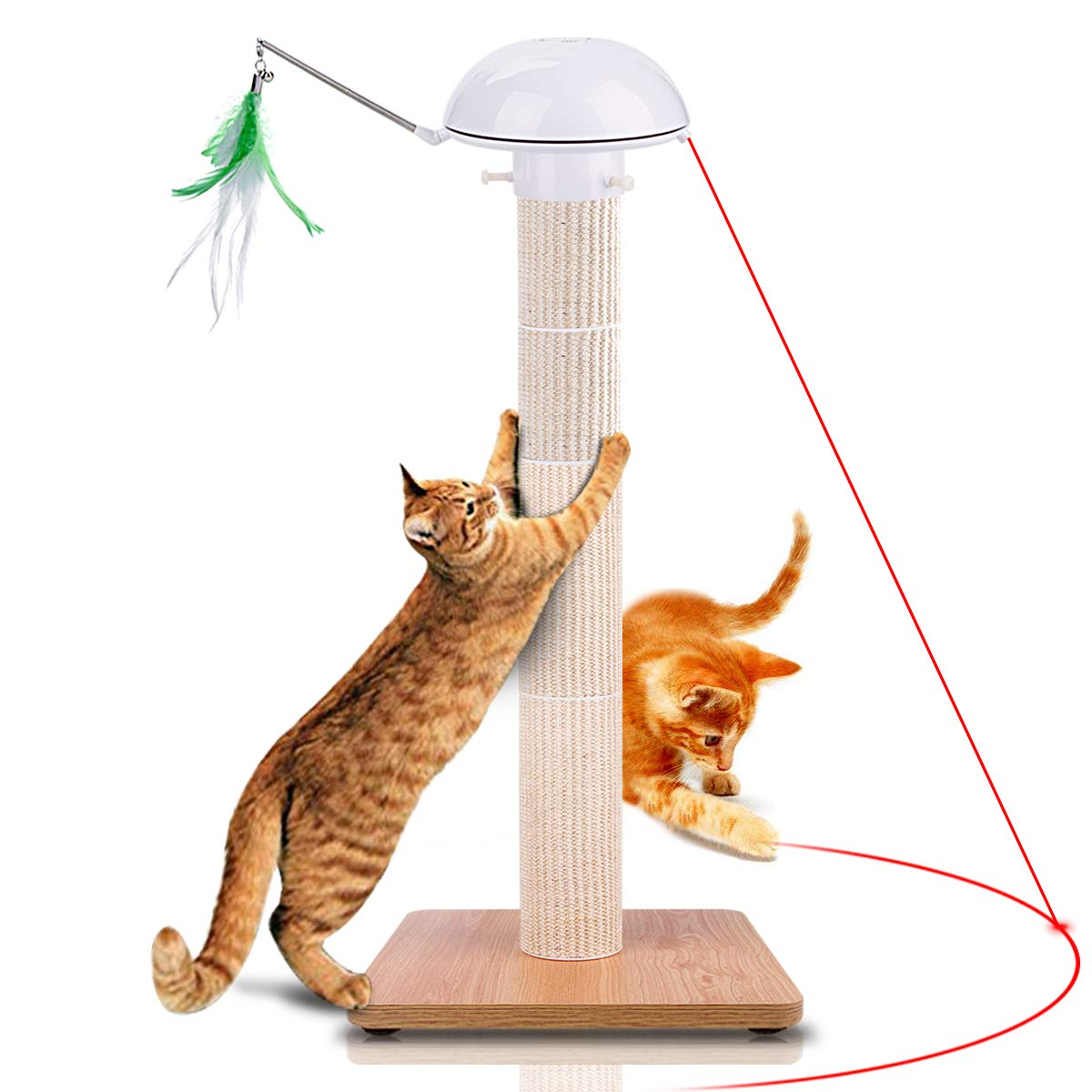 Huicocy Scratching Post, 35 Inches Tall Cat Scratch Post Covered by Allergen-Free Durable Sisal, Cat Post with Interactive Auto Rotating Light Feather and LED Laser Light