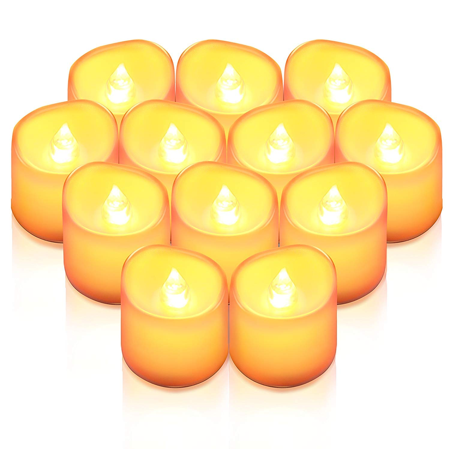 (Upgraded) Flameless Candles, 12 PCS LED Tea Light Candles, Realistic Flickering Votive Candle Lights for Christmas, Party & Wedding Decor, Wave Open Battery Included (No Remote)