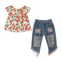 MTSLYH Toddler Baby Girl Pineapple Off Shoulder Lotus Leaf Top+Ripped Denim Jean Outfit