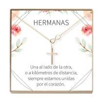 Dear Ava Collar Regalo para Hermana: Joyería, Mayor, Menor, Cumpleaños, Navidad, Infinity Cross