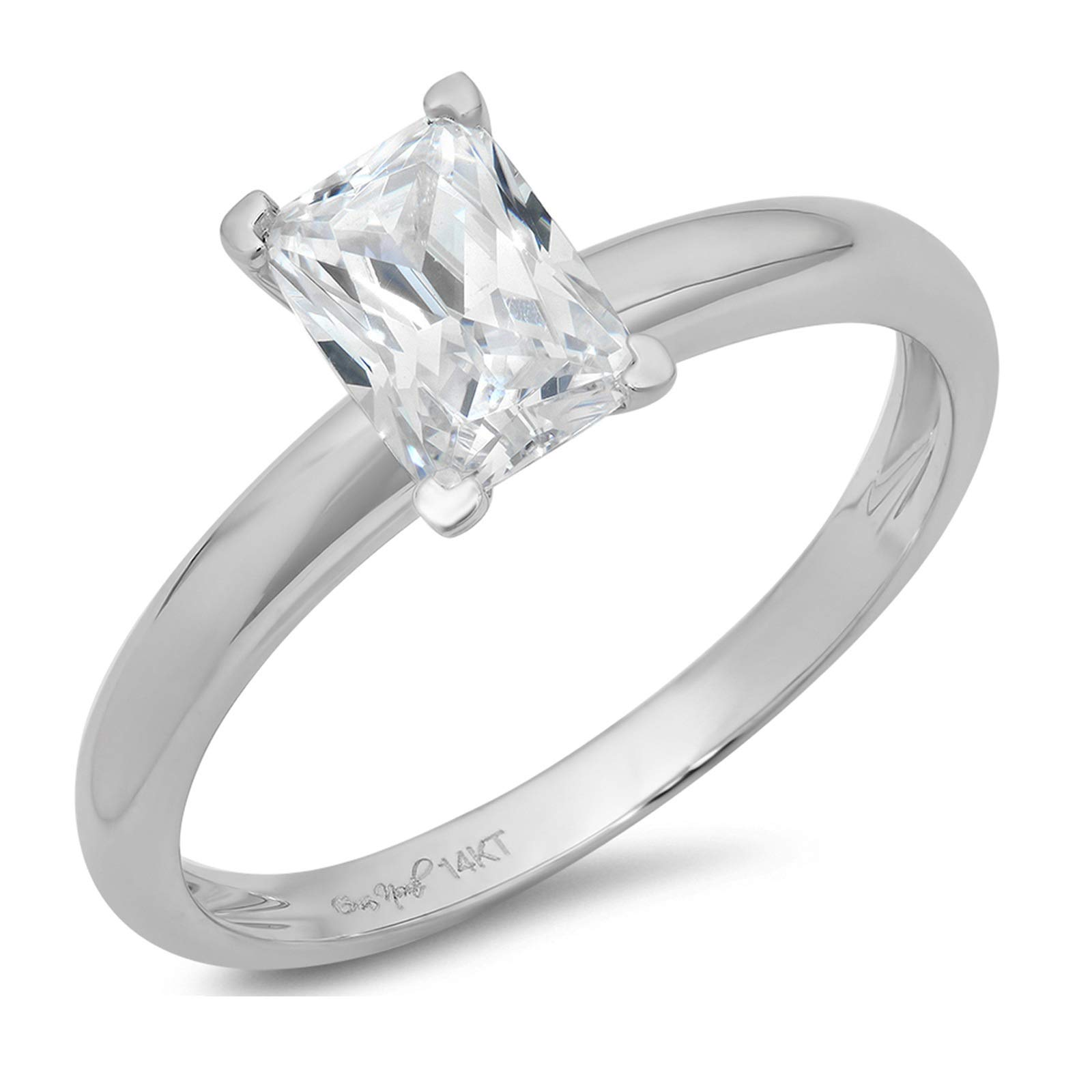 0.9ct Brilliant Emerald Cut Solitaire Highest Quality Lab Created White Sapphire Ideal VVS1 D 4-Prong Engagement Wedding Bridal Promise Anniversary Ring Solid Real 14k White Gold for Women