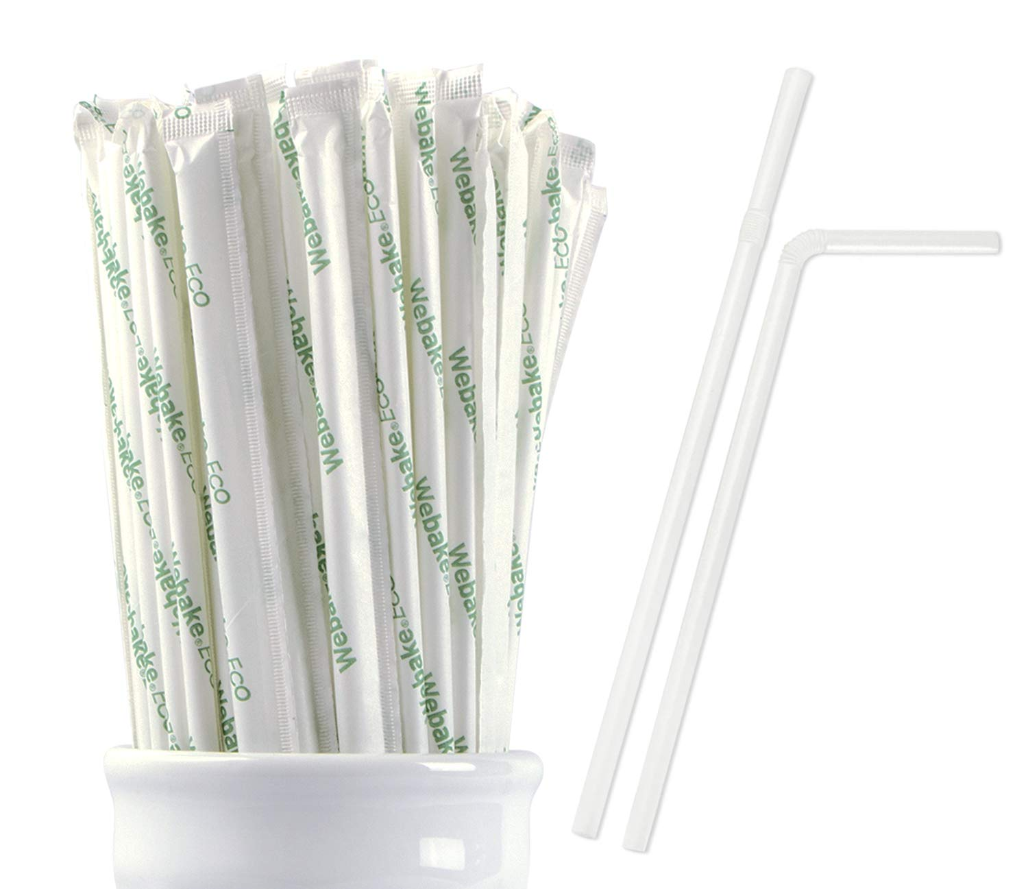 Webake 200 Pack Compostable Flex Straws Eco Friendly Corn Starch Drinking Straw, Plastic Alternative Straws for Cocktail Coffee and Juice Pouches, 200 Bulk Pack Individually Wrapped