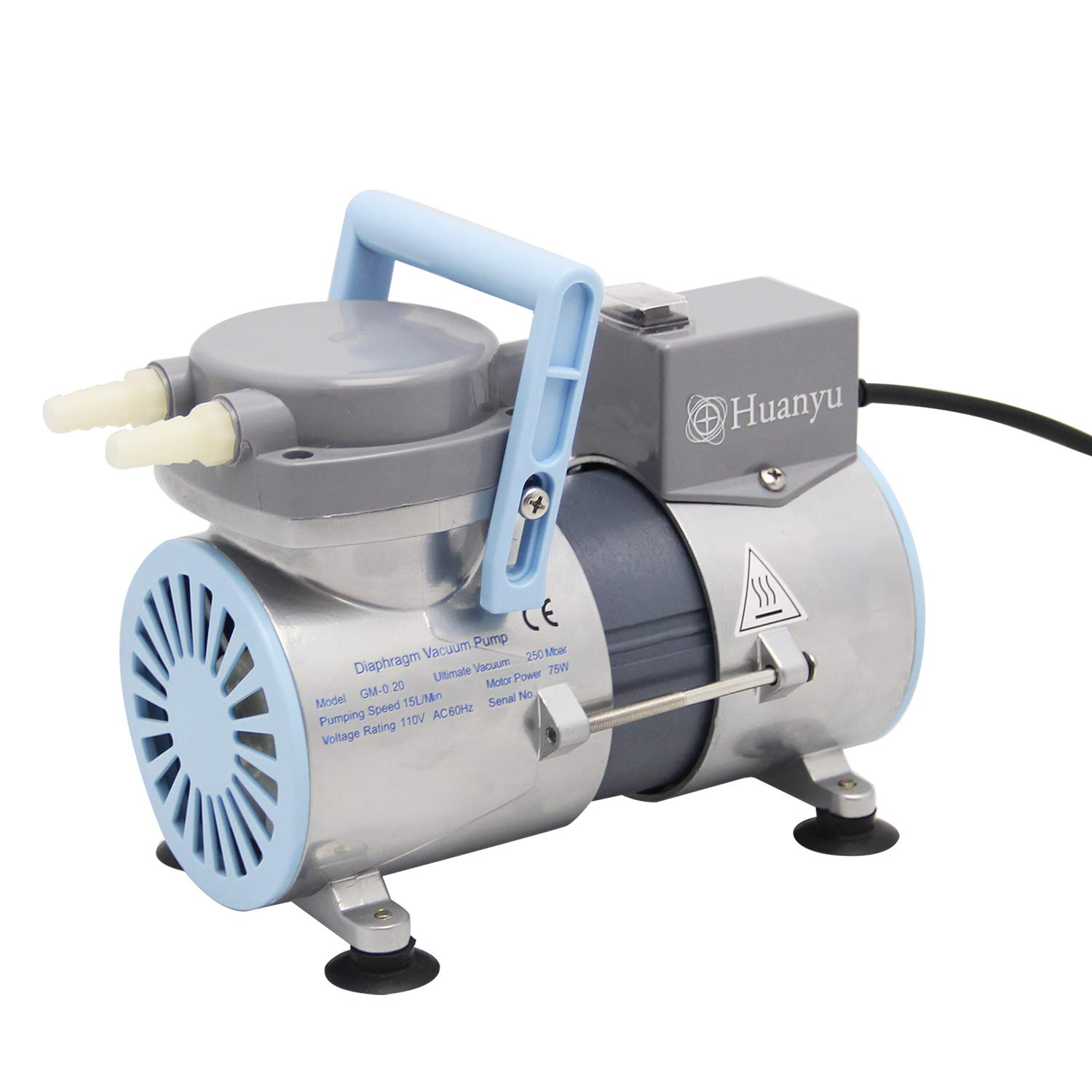 Huanyu Oilless Diaphragm Vacuum Pump Oil Free Anticorrosive Pump 12L/min Lab R&D for Filtration Extraction Apsorption 110V (Ordinary Type, GM-0.2(Single Pump))