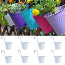 "LOVOUS 6.1"" x 4.5"" x 5.7"" Large 8 PCS Iron Hanging Flower Pots Balcony Garden Plant Planter, Wall Hanging Metal Bucket Flower Holders"
