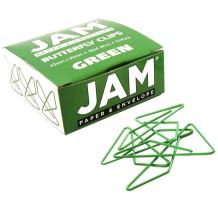 JAM PAPER Colorful Butterfly Clips - Green Paper Clamps - 15/Pack