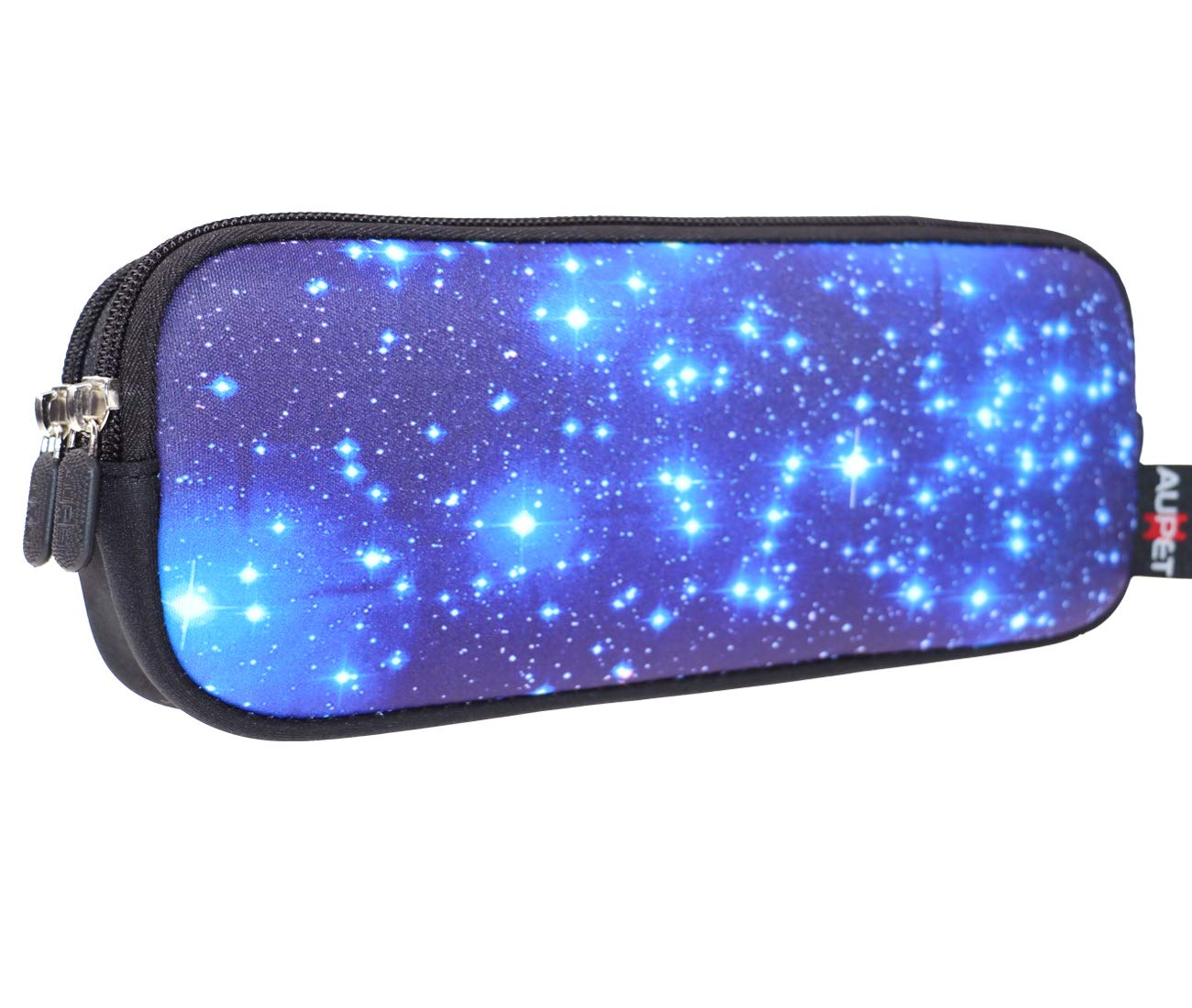 AUPET Pencil Case, Large Capacity Pencil Bag with Two Compartments Durable Zipper Students Stationery Pen Bag for Pens, Pencils, Markers, Eraser and Other School Supplies (Starry Sky)