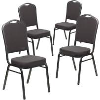 Flash Furniture 4 Pk. HERCULES Series Crown Back Stacking Banquet Chair in Gray Fabric - Silver Vein Frame