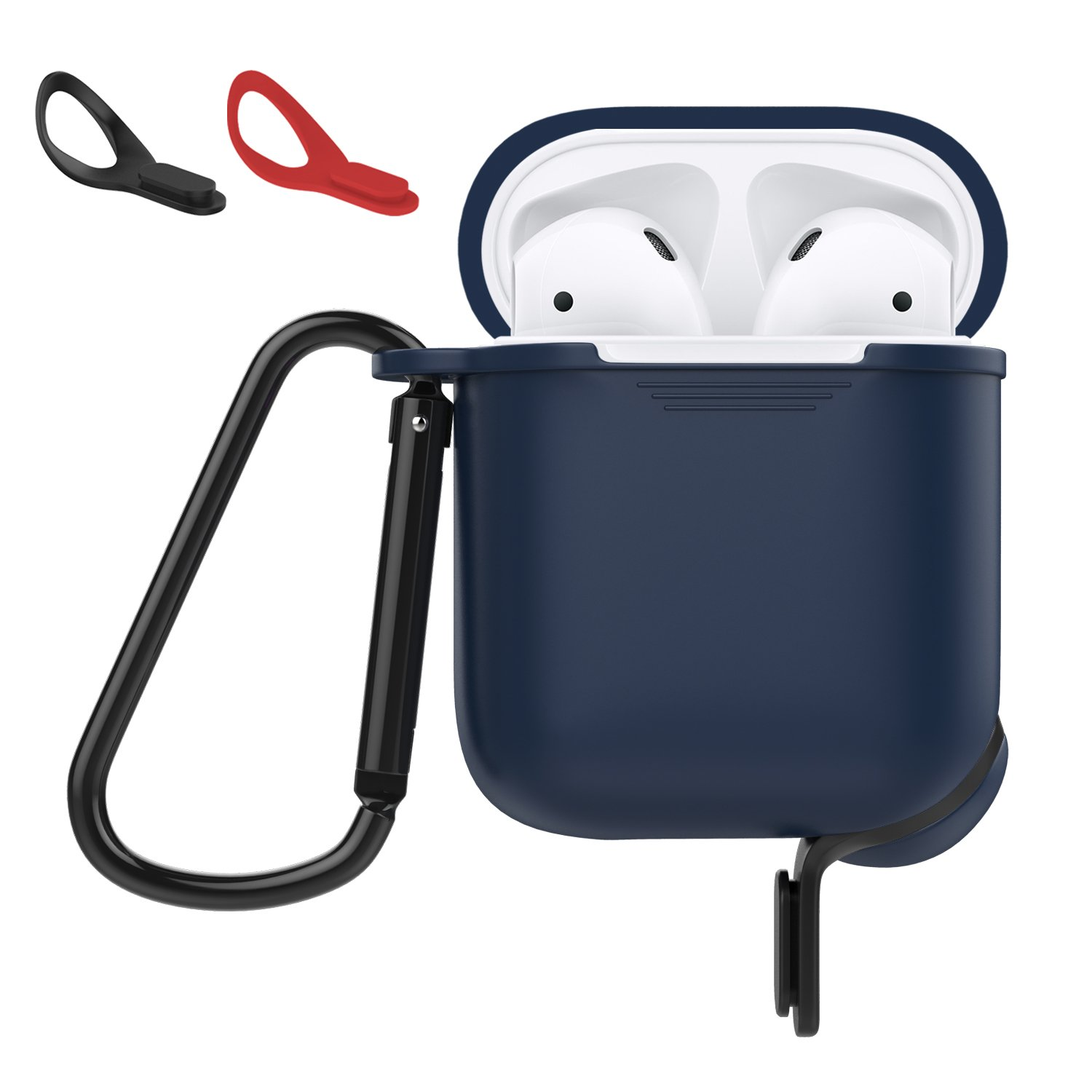 MoKo Protective Case Fit AirPods 1 & AirPods 2, Silicone Cover Shock Proof Protective Cover Skin with Carabiner & Dustproof Plug for Airpods Charging Case, Indigo