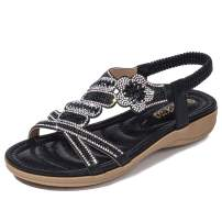Odema Womens Glitter Flat Sandals Rhinestone Open Toe Slip-on Dress Shoes