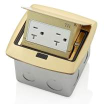 Leviton PFTR2-BR, Brass Pop-Up Floor Box with 20 Amp, Tamper-Resistant Outlet