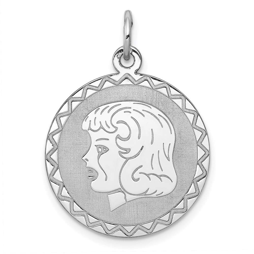925 Sterling Silver Engraveable Girl Disc Pendant Charm Necklace Engravable Left Facing Boy Head Laser Designed Fine Mothers Day Jewelry For Women Gifts For Her